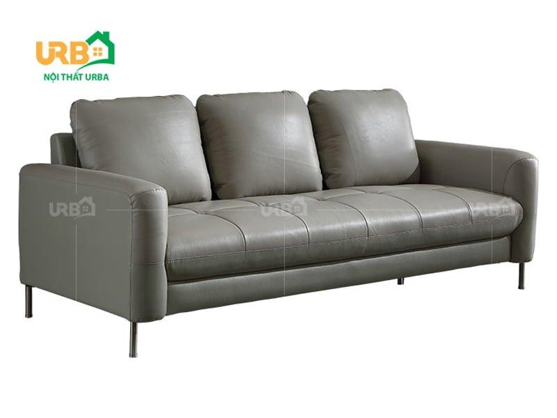 sofa văng da 054 màu ghi sang trọng, dễ bài trí