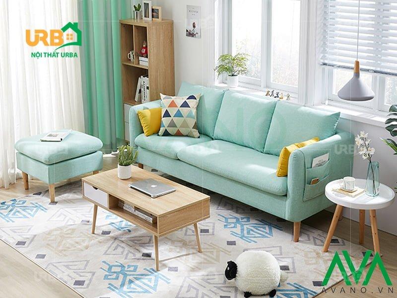 Sofa văng nỉ mã 047 thiết kế thanh mảnh với chân gỗ cao