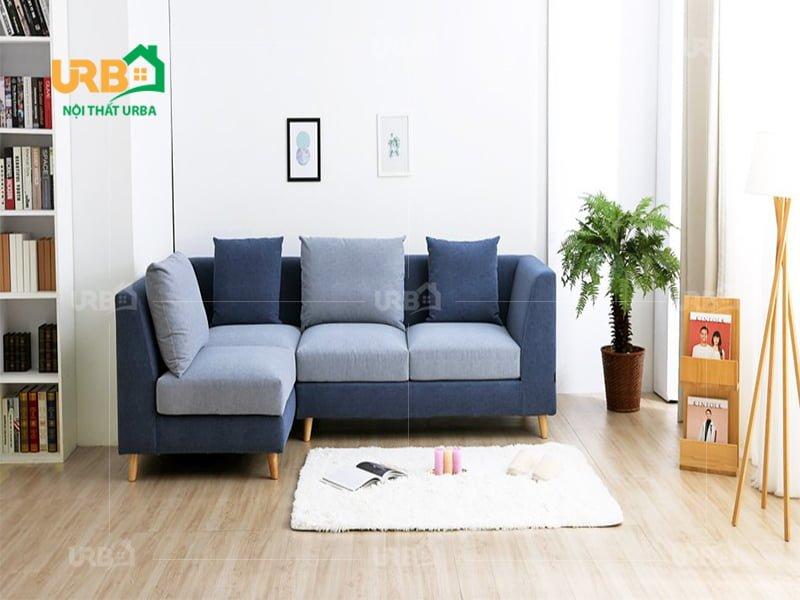 sofa góc màu xanh dương