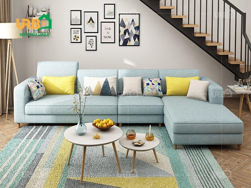 ghế sofa giá rẻ kiểu dáng góc trái màu xanh ngọc