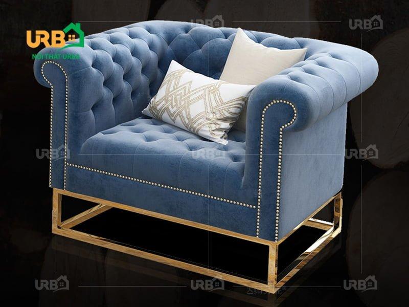 sofa tân cổ điển 2007 Chân khung vuông inox chắc chắn, thoáng mát