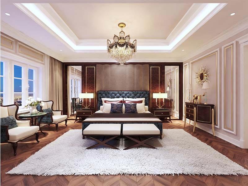 Nội thất phòng ngủ mang đậm đặc trưng của phong cách Luxury