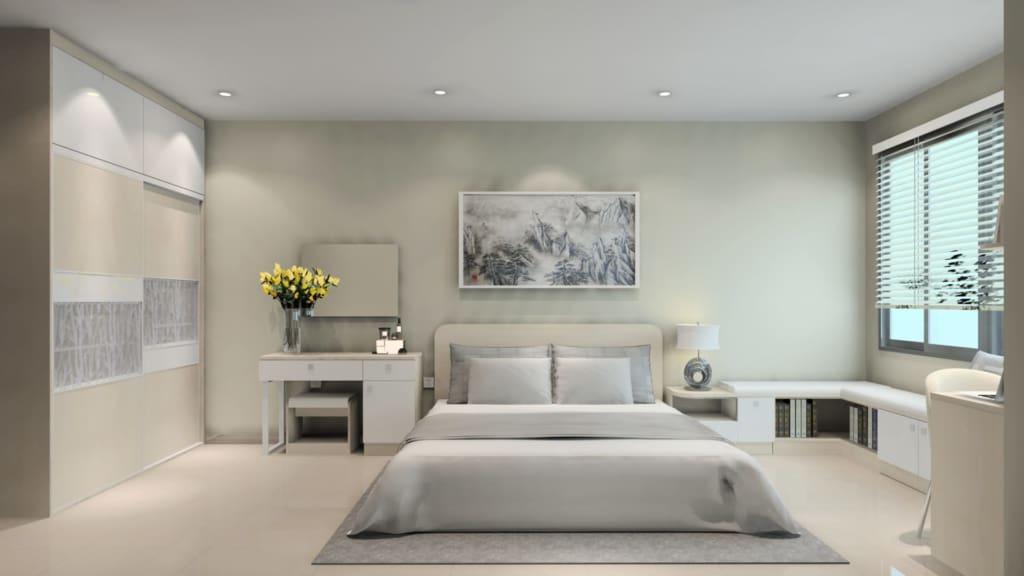 Phòng ngủ được thiết kế theo phong cách hiện đại, trẻ trung