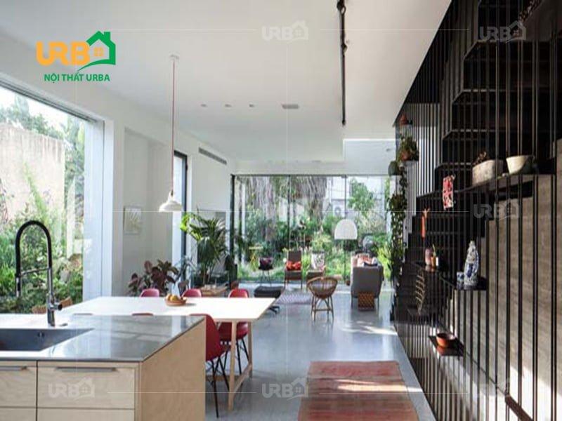Không rời mắt với thiết kế nội thất phòng khách hướng thiên nhiên 2