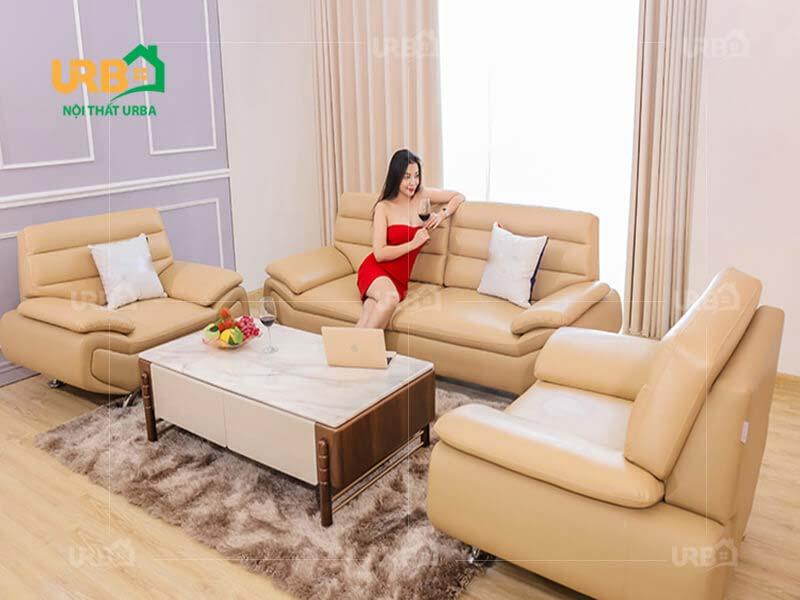 bộ bàn ghế sofa đẹp màu kem