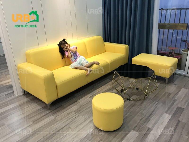 ghế sofa văng màu vàng