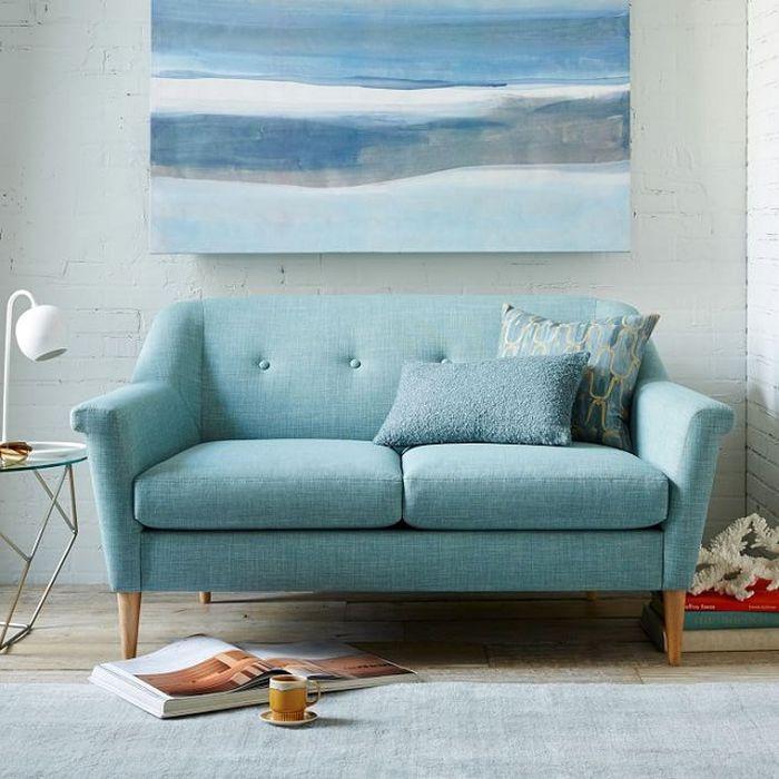 ghế sofa nhỏ màu xanh
