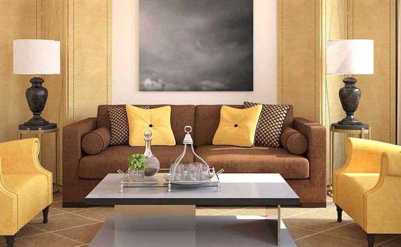 Chọn sofa màu nâu cho tường màu vàng