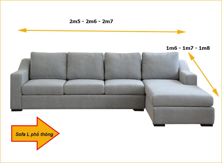 Kích thước phổ thông của sofa góc