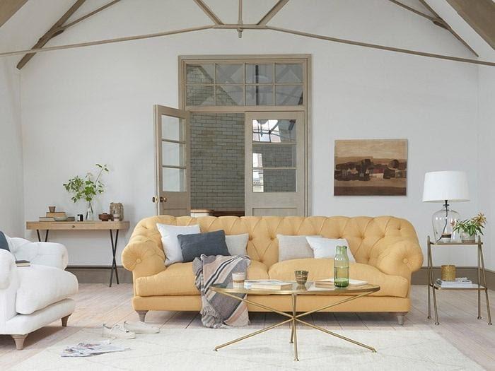 ghế sofa da văng màu vàng