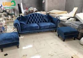 Màu xanh tạo lên mẫu sofa tân cổ điển giá rẻ giá trị hơn