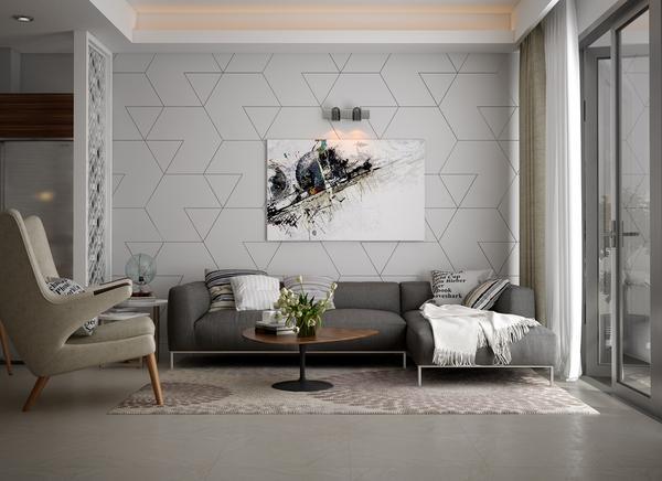 Kết hợp sofa góc chữ L với trần nhà cao